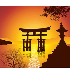 Lake with Torii Gate vector image vector image