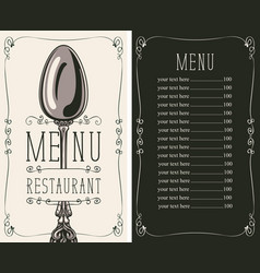restaurant menu with price list and spoon vector image vector image