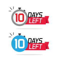 10 days left or to go sale countdown icons vector