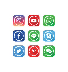 A collection of popular social media icons vector