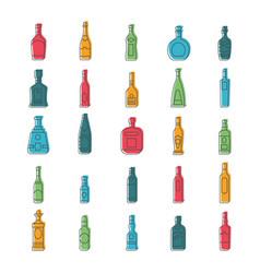 alcohol bottles set vector image