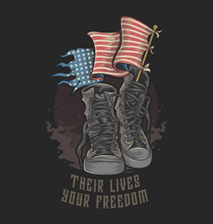 American veterans boots shoes and flag vector