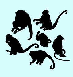 ape and monkey action silhouette vector image