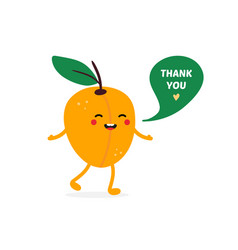 apricot fruit character smiling saying thank you vector image