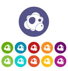 atom icons set flat vector image