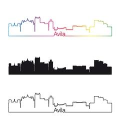 Avila skyline linear style with rainbow vector image