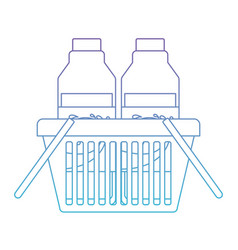 basket shopping with milk bottles in degraded vector image