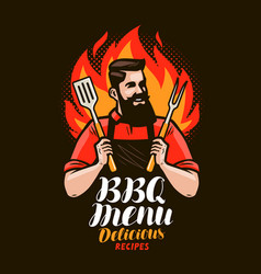 bbq barbecue design of menu for restaurant or vector image