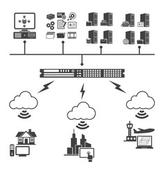 Big data icons set virtualization computing vector