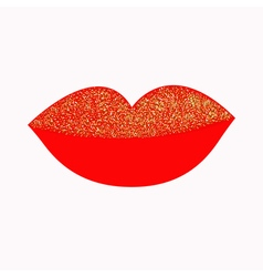 Big full thick red lips with gold glitter on white vector