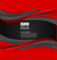 black and red color wave abstract background with vector image