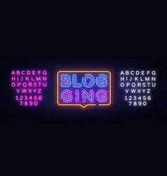 blog neon text blogging neon sign design vector image