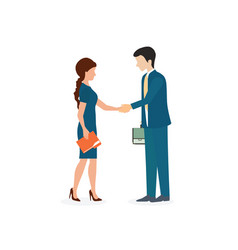 business man and woman shaking hands vector image