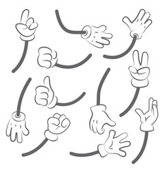 cartoon hands body parts collection hands vector image