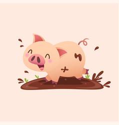 Cartoon pig playing in mud vector