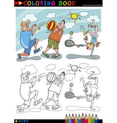 children playing ball cartoon for coloring vector image