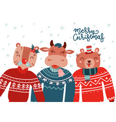 christmas animals wearing ugly sweater set vector image