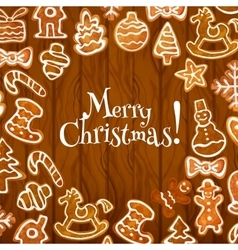 Christmas cookie poster on wooden background vector image