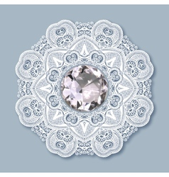 Christmas snowflake decoration with diamond jewel vector