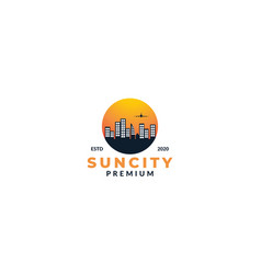 City building silhouette and sunset logo design vector