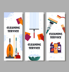 cleaning service horizontal banners set house vector image
