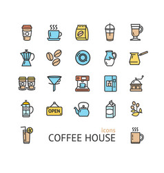 coffee house sign color thin line icon set vector image