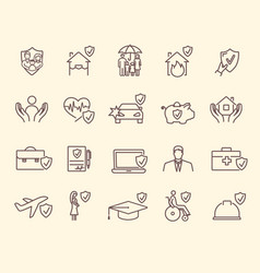 collection insurance icons vector image