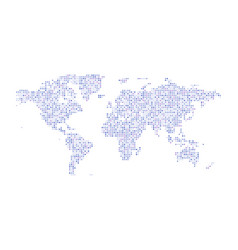 color dotted political world map isolated vector image