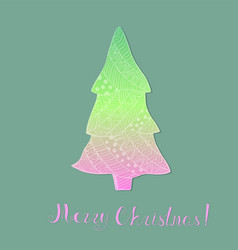 Colorful christmas tree with pattern and lettering vector