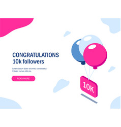 Congratulations 10k followers multi-colored vector