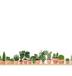 Cute set hygge potted succulent plants vector