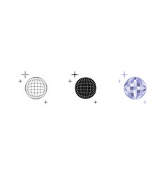 disco ball set three options icon editable vector image