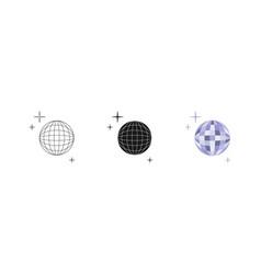 disco ball set three options icon editable vector image
