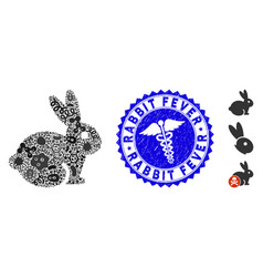Epidemic mosaic rabbit icon with caduceus distress vector
