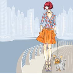 Fashion girl walks with dog vector
