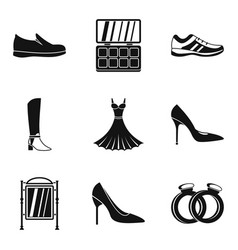 Female accessories icons set simple style vector