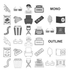 Films and cinema monochrom icons in set collection vector