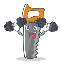 fitness hand saw character cartoon vector image