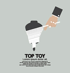 Flat Design Hand Playing A Top Toy vector