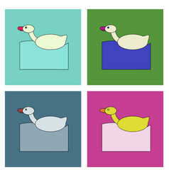 flat icon design collection kids duck automatic vector image