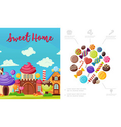 Flat sweet home composition vector