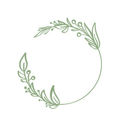 frame wreath with leaves and branches decor vector image