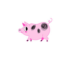 funny pink pig on a white background vector image