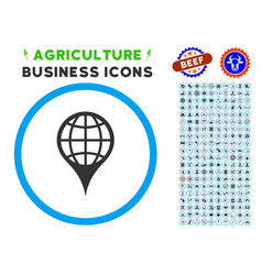 Global location rounded icon with set vector