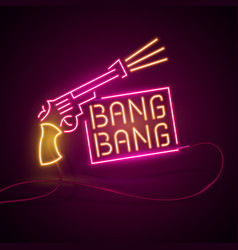 Glowing neon effect sign pair of crossed gun vector