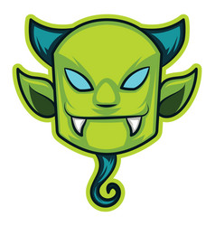 green devil on white background vector image