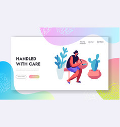 Handcrafted pottery master class website landing vector