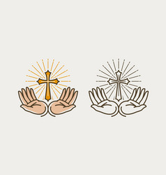 hands and cross crucifixion god bible religion vector image