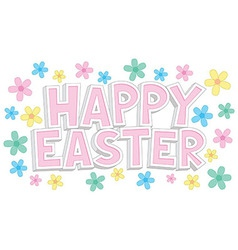 Happy Easter Text With Flowers vector image