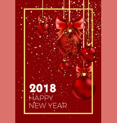 Happy new year 2018 christmas ball decoration vector